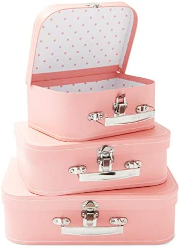 Pink Paperboard Suitcases Set of 3 Vintage Style Storage Boxes 3 Sizes product image