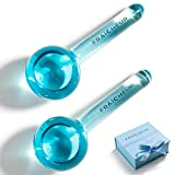 FRAÎCHEUR ICE GLOBES | Frozen Cryo Roller for Cold Facial Massage | Skincare Cooling Glass Massager with Anti-Freeze Liquid Inside | Reduce Puffiness, Pores and | Bonus Massage Techniques eBook (BLUE)