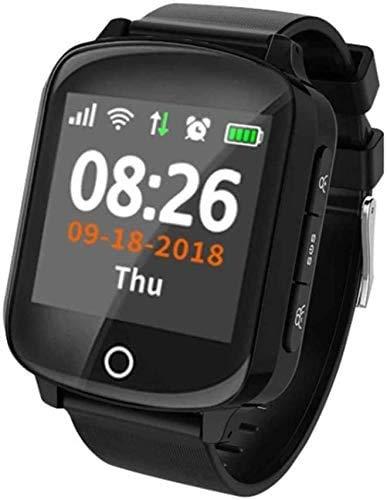 ZIJIAGE Reloj rastreador de Ejercicios, Reloj Inteligente, protección contra caídas, frecuencia cardíaca, presión Arterial, SOS, con localizador de rastreador GPS, Mujeres Mayores, Hombres,Negro