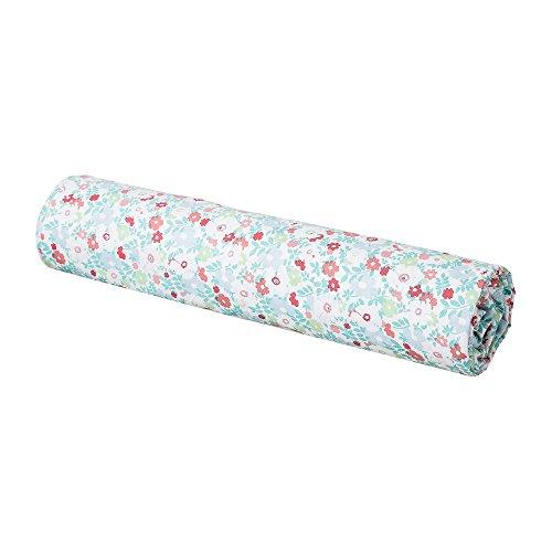 BLANC CERISE Drap housse enfant imprimé fleuri - 100% coton - vert et corail 90*200 cm