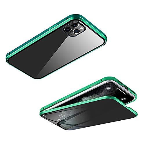 360°Full Body Protección Funda para Iphone 12/12 Mini/12 Pro Max[Adsorción Magnética] Parachoques Metal Con 360 Grados Protección Case Cover Delantera y Trasera Vidrio Templado Case ,Verde,12ProMAX