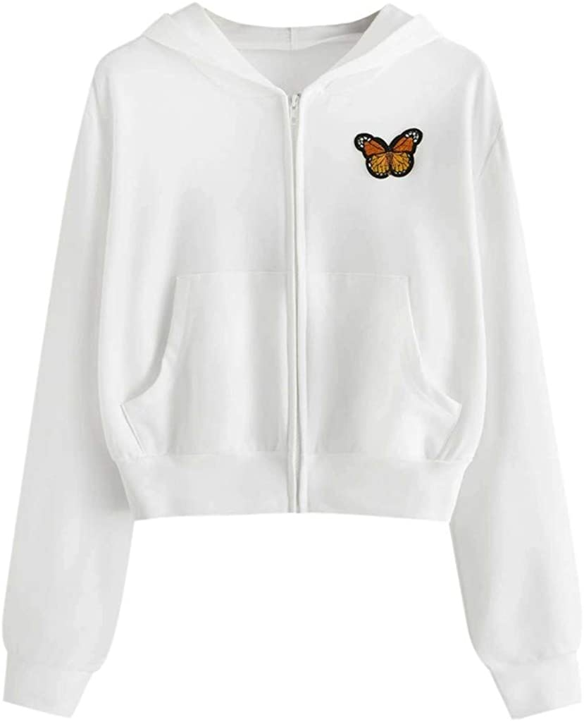 Women's Crop Top Hoodies Butterfly Embroidery Long Sleeve Zipper Shirts Casual Sweatshirts Tops with Pocket for Grils