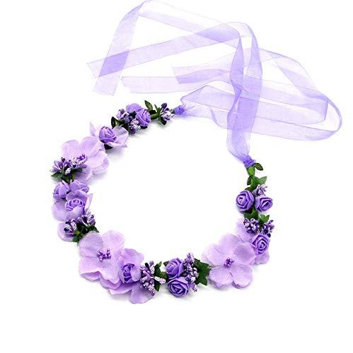 Flor Corona,Diademas de Flores Garland Mujer Venda de Pelo Boho Cinta de Banda para Sombrero Ornamento Fiesta Festival Playa Travle Nupcial Boda Accesorios Ninos Púrpura