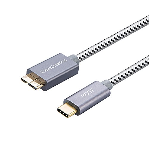 CableCreation USB C auf Micro USB 3.0, USB 3.1 Typ C auf USB Micro-B(Gen2/10Gbps) Kabel, USB C zu Micro B 3.0 Kabel, USB C Verbindungskabel für Apple MacBook Pro, Chromebook Pixel, HDD usw, 0,3M/Grau