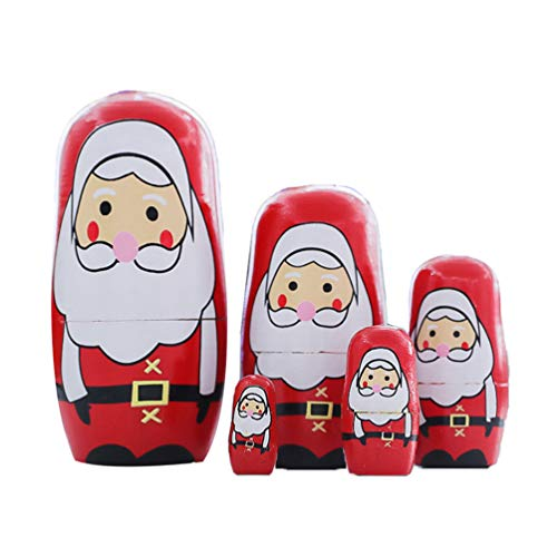 Amosfun 1 Set Russian Nesting Dolls Cute Santa Claus Matryoshka Stacking Nested Wooden Toy Sets for Xmas Holiday Kids Gift Decoration