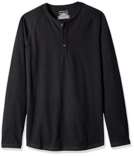 Amazon Essentials Men's Regular-Fit Long-Sleeve Henley Shirt, Black, XX-Large