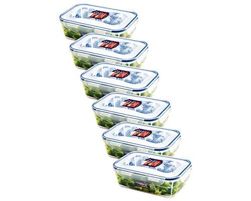 Lock&Lock Frischhaltebox | Lebensmittelbehälter | mikrowellenfest | 208 x 143 x 67 mm, Inhalt: 1,2 L | HPL321 -6er Set