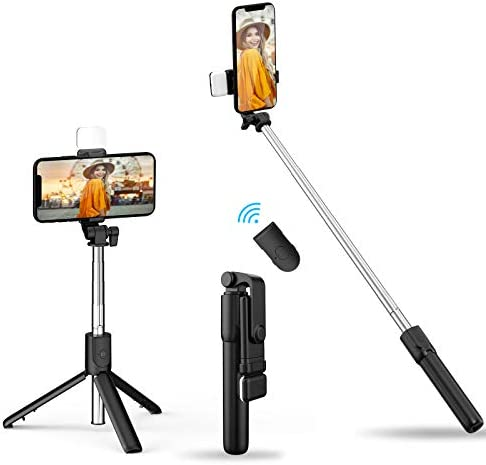 2021 Newest Selfie Stick Tripod with Fill Light Lightweight Phone Tripod Stand with Detachable product image