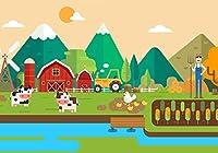 GooEoo 5x3ft 漫画の農場の牛と鶏の農地の写真の背景誕生日パーティーの装飾写真スタジオの小道具家族のパーティーの誕生日の背景ベビーシャワーの装飾ビニール素材