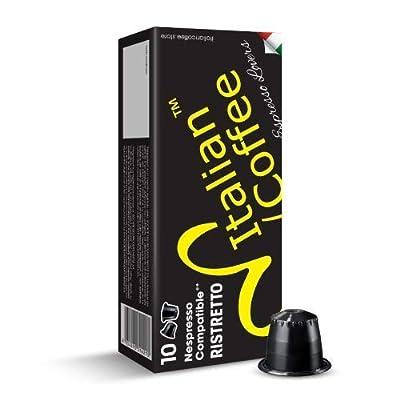 100 Delicitaly pods compatible with Nespresso machines, Italian Expresso capsules (Ristretto)