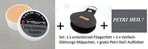Jenzi Set: Echtes Entenbürzelfett, 10 ml Dose + Vorfachglättungsmäppchen + gratis Petri Heil! Aufkleber