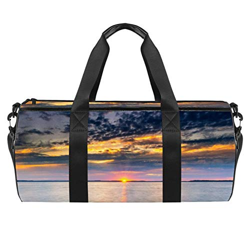 TIZORAX Sunrise Sky View Over The Sea Gym Duffle Bag Drum tote Fitness Travel Bag Rooftop Rack Bag