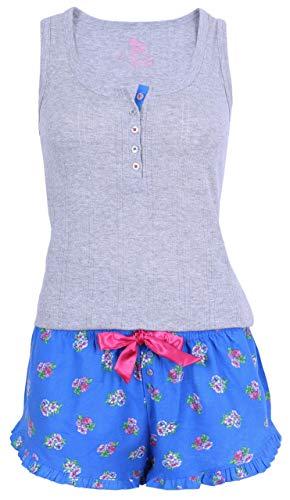 Primark Süßer Schlafanzug kurz Pyjama Blumenmuster (40-42 / UK 14-16)