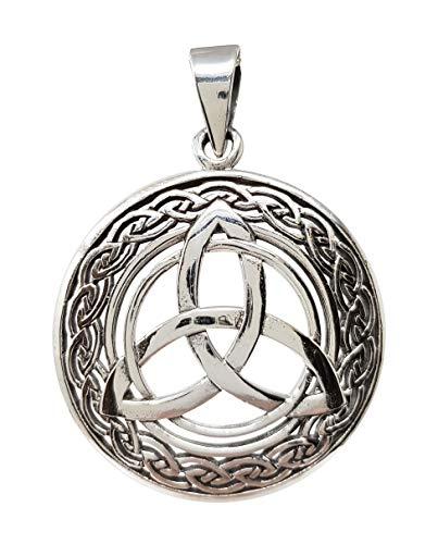 TreasureBay Colgante de plata de ley 925 con nudo celta circular para hombres y mujeres