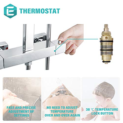 Elbe Mixer Shower with Thermostat, Made of Stainless Steel 304 & Brass, with Large Square Shower Head 25x25 cm, Adjustable Shower Riser Rail