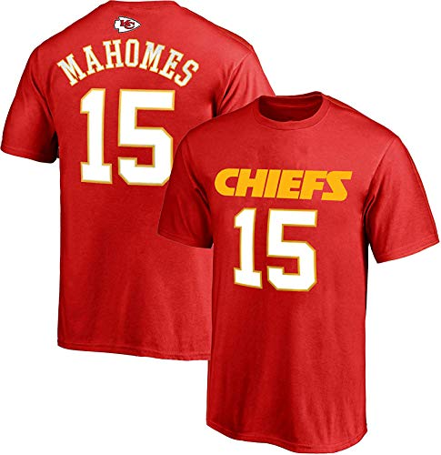 NFL Youth 8-20 Team Color Polyester Performance Mainliner Player Name and Number Jersey T-Shirt (Medium 10/12, Patrick Mahomes Kansas City Chiefs Red)