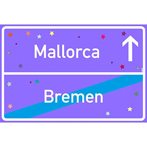 vanva Bremen Ortsschild Mallorca Schild Bremen Mallorca Lila 30 x 20cm - Lustige Geschenke oder Dekoration - Party Deko Geschenkideen