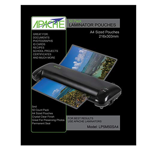 Apache Fundas para Plastificar, Formato A4 (125 Micras, Pack de 50)
