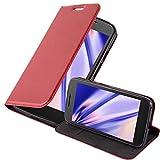 Cadorabo Hülle für Motorola Moto G4 Play - Hülle in Apfel ROT – Handyhülle mit Magnetverschluss, Standfunktion & Kartenfach - Hülle Cover Schutzhülle Etui Tasche Book Klapp Style