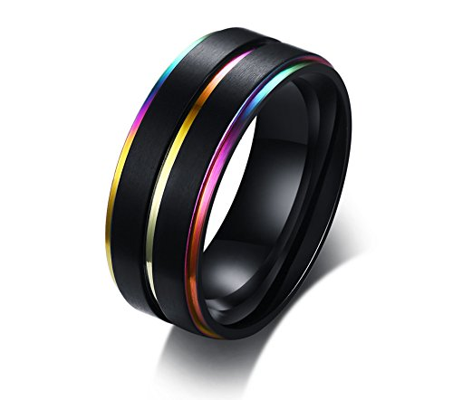 Stainless Steel Three Rainbow Edge Pride Ring for Couple Lesbian Gay Pride Band for LGBTQ Wedding Bands for Men,Size 9