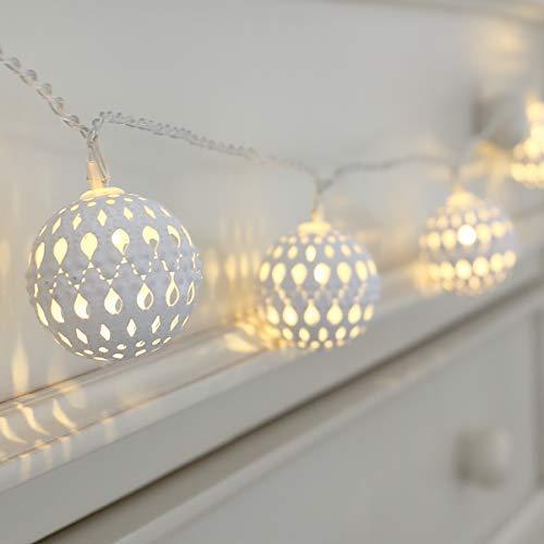 Guirlande Lumineuse LED à Piles avec 10 Boules Marocaines Blanches 1,50 Mètres On/Off Auto