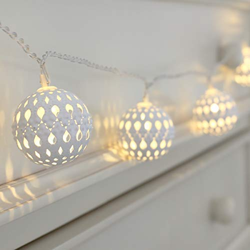 Moroccan Ball String Lights - White Metal - Warm White LEDs - Battery Operated by Festive Lights