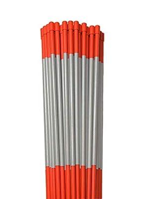 Stakemakers 24 Orange 48-Inch Fiberglass Pole Reflective Driveway Marker - Pack of 24