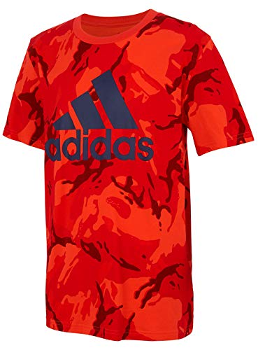 adidas Boys' Short Sleeve Cotton Jersey Graphic T-Shirt (X-Large, Hi-Res Red Camo)