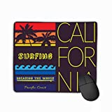 Family Mouse Pad,Standard Size Rectangle Non-Slip Rubber Mousepad 11.81 X 9.84 Inch California Beach Typography Pacific Coast California Surfboard Surfer Emblem...