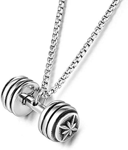 CCXXYANG Co.,ltd Necklace Stainless Steel Vintage Fitness Barbell Men S Punk Rock Pendant Necklace Dumbbells Jewelry Gift for Him