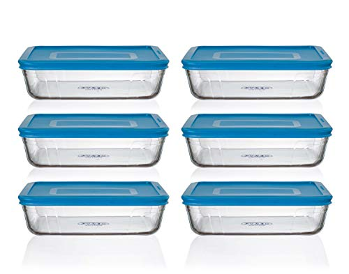 Pyrex Cook n Fresh - Rectangular Storage Set - Set of 6 Storage Dishes with Mid Blue Plastic Lids - 6X 1.5L (Dimensions: L22 x W17 x H 6 cm)