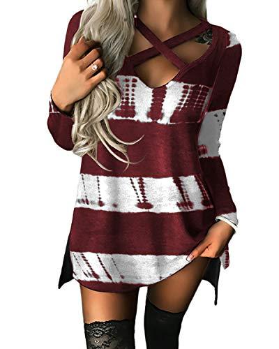 YOINS Pullover Damen Sexy Oberteil Damen Langarmshirts Herbst Sweatshirt T-Shirt V-Ausschnitt Tops