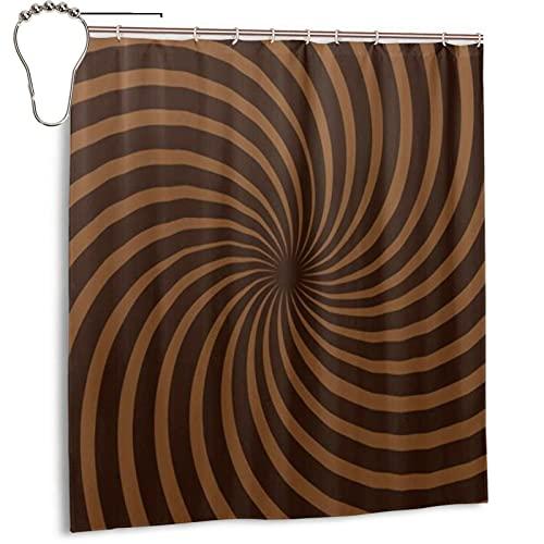KENADVI Waschbar Bad Duschvorhang,Schokoladenbraun Spiral Ripple,Mit Haken Wasserdicht Polyester Stoff Badezimmer Dekor 66X72 In