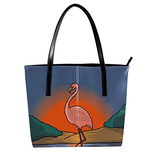LORVIES - Pinturas de puesta de sol con diseño de flamenco, bolso bandolera de piel sintética y bolsos de mano para mujer