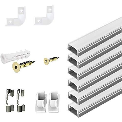 6x 1 m profilo a LED in alluminio a forma di U con copertura, tappi terminali e clip di montaggio per strisce LED