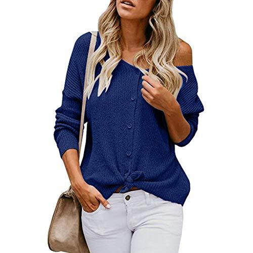 Suéter de manga larga con botones para mujer, Azul, XXL