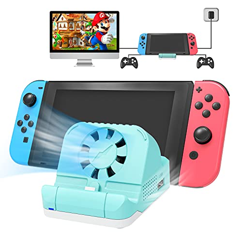 Switch Dock for Nintendo with Cooling Fan,TV Switch Docking Station for Nintendo Switch with 4K HDMI USB Port,Replacement Charging Dock for Nintendo Switch-Green