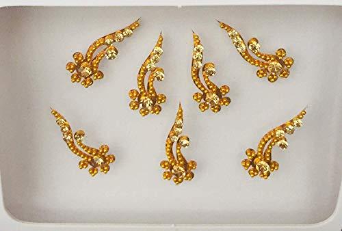 BB211 Gold-Bindi-Silber-Kristallsteinperlen Perlenstickerei Bindi Tätowierung Stirn Aufkleber Hochzeit Tikka indische Fantasie-Partei-arabisches Gesicht Gem Körperkunst