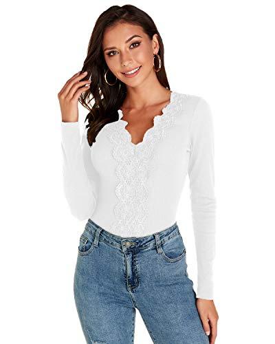 VONDA Femme T-Shirts à Manches Longues Tops et Chemisiers Hiver Pulls Sexy Col V en Dentelle Grande Taille A-Blanc L