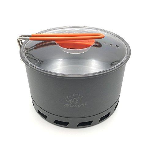 tentock 2–3persona intercambiador de recogida de calor Pot 1.5L Camping Stove duro olla de aluminio con mango plegable rápida hervir Billy puede con bolsa de malla de almacenamiento compact