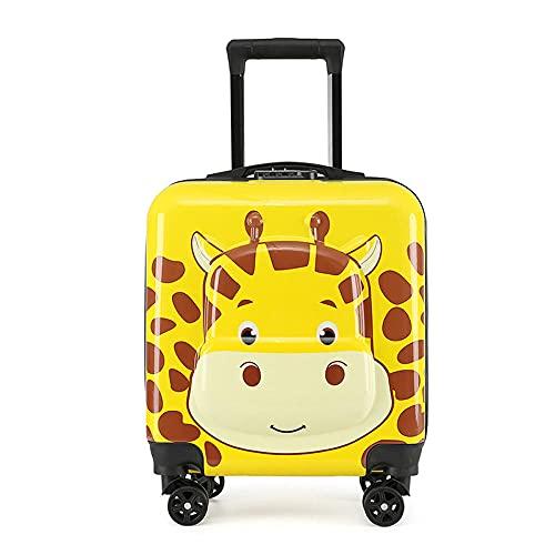 Caso del carrello dei bambini Cartoon 3d Valigia 3D Studente Student Suitcase Suolo universale Cabina per bambini-giallo_46 cm.