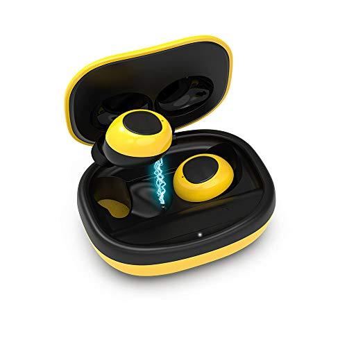 Cuffie Bluetooth 5.0 Auricolari Bluetooth Senza Fili Wireless Sportivi in Ear Cuffie con Microfono Audio Stereo HIFI compatibile con iPhone Android con Custodia di Ricarica Mini Cuffie - Giallo
