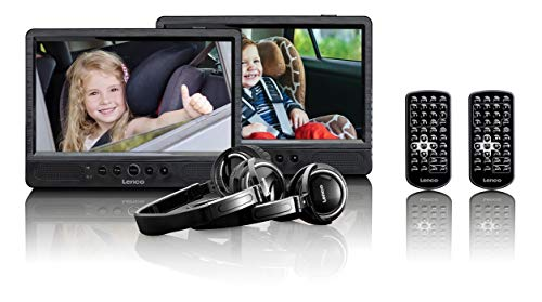 Lenco Tragbarer DVD-Player DVP-1045 - Doppel DVD-Player Set - 2 x 10 Zoll Bildschirm - minimal 4 Stunden Akkulaufzeit - 2 Kopfhörer - 2 Fernbedienungen - 2 Befestigungen - Schwarz
