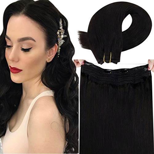 LaaVoo Black Halo Human Hair Extensions Secret Halo Real Hair Extensions Natural Black Halo Extensions Human Hair Black Halo Couture Hair Extensions for Women Hidden Crown 80g 12'