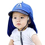 Toddler Kids Shark Bucket Sun Hat with Neck Flap for Summer Sun Protection UPF 50+ Blue