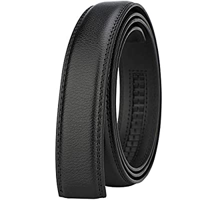 Lavemi Men's Real Leather Ratchet Dress Belt Strap(Pebble Black Leather)