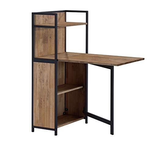 Shelf, Estanteria con Mesa Plegable para Salon, Comedor o Cocina, Acabado en Roble Boreal y Negro, Medidas: 62 cm (Largo) x 120 cm (Alto) x 30 cm (Fondo)