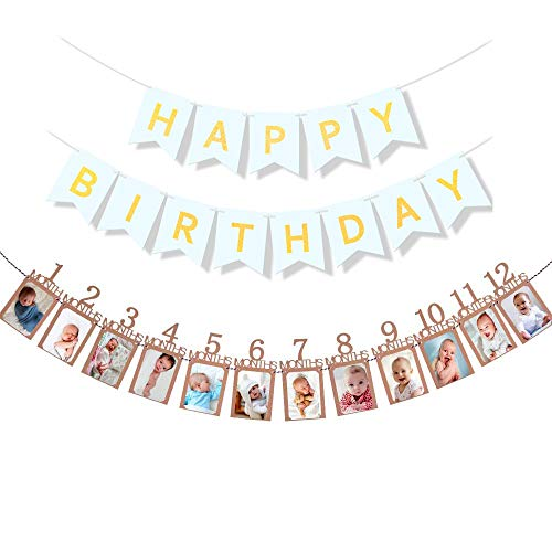 Podinor First Birthday Photo Banner, 12 Month Photo Banner Milestone Monthly Bunting Garland Picture Banner for Baby 1st Birthday Party Decoration (Kraft)