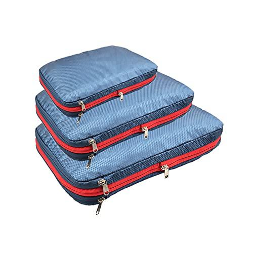 MisFox Juego de 3 cubos de equipaje con bolsa de viaje de compresión de dos capas, organizador de equipaje, impermeable, organizador para maletas, equipaje de mano, mochila, azul marino,