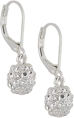 Gloria Vanderbilt Rhinestone Ball Drop Earrings One Size Silver tone